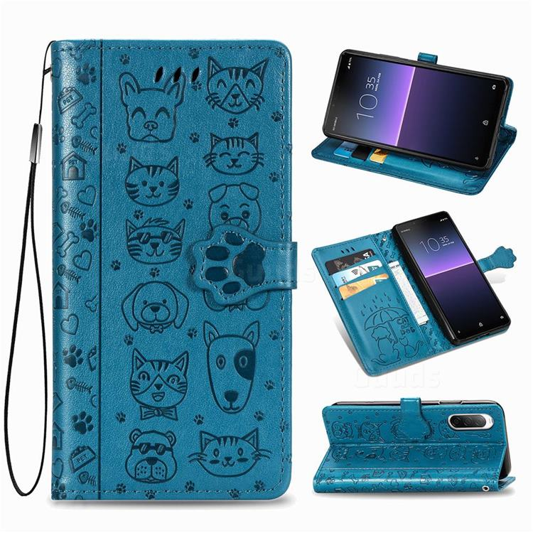Embossing Dog Paw Kitten and Puppy Leather Wallet Case for Sony Xperia 10 II - Blue