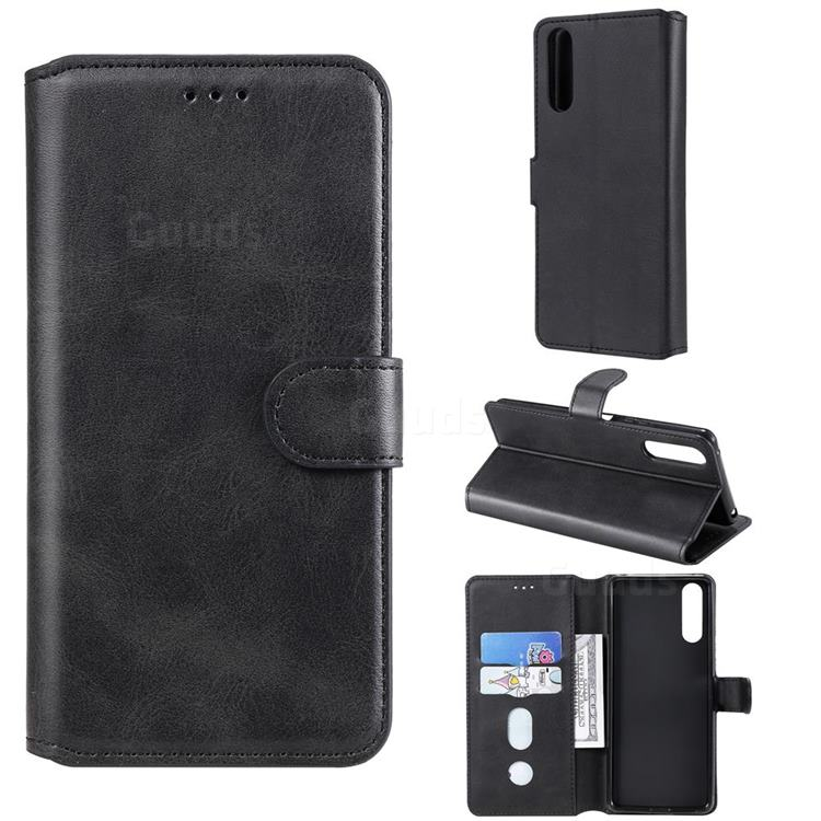 Retro Calf Matte Leather Wallet Phone Case for Sony Xperia 10 II - Black