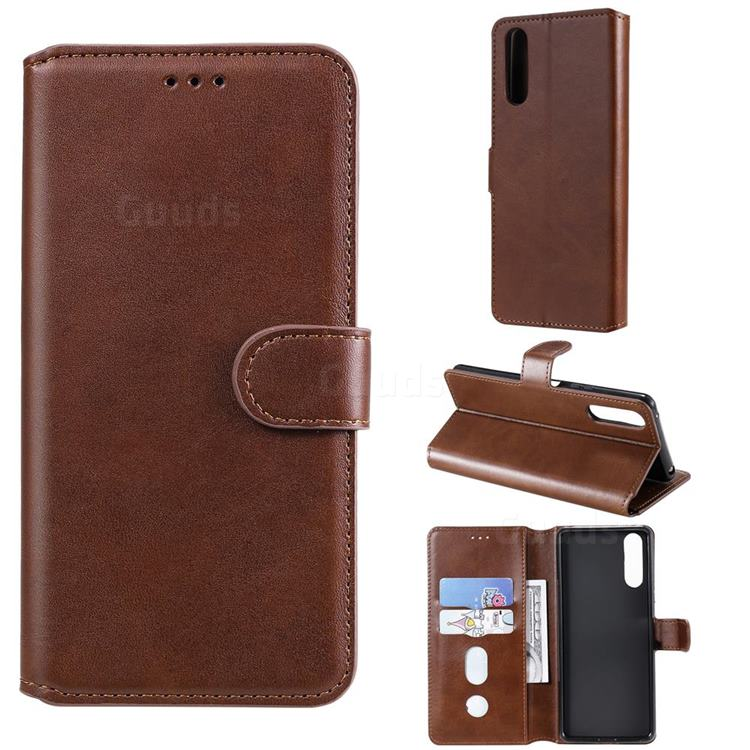 Retro Calf Matte Leather Wallet Phone Case for Sony Xperia 10 II - Brown