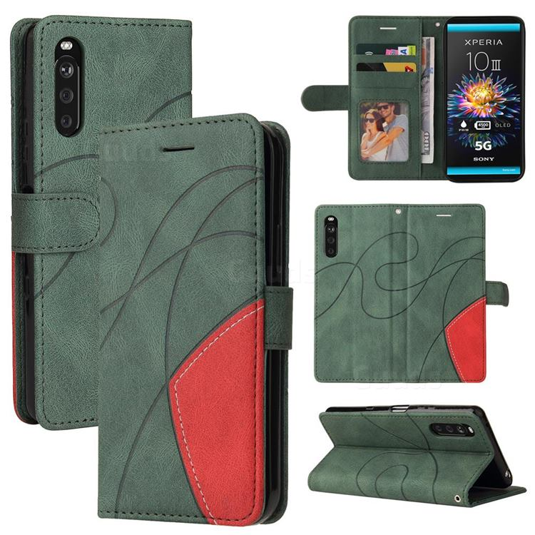 Luxury Two-color Stitching Leather Wallet Case Cover for Sony Xperia 10 III - Green