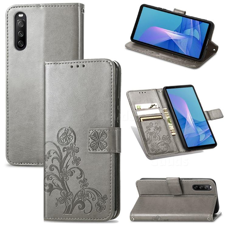 Embossing Imprint Four-Leaf Clover Leather Wallet Case for Sony Xperia 10 III - Grey