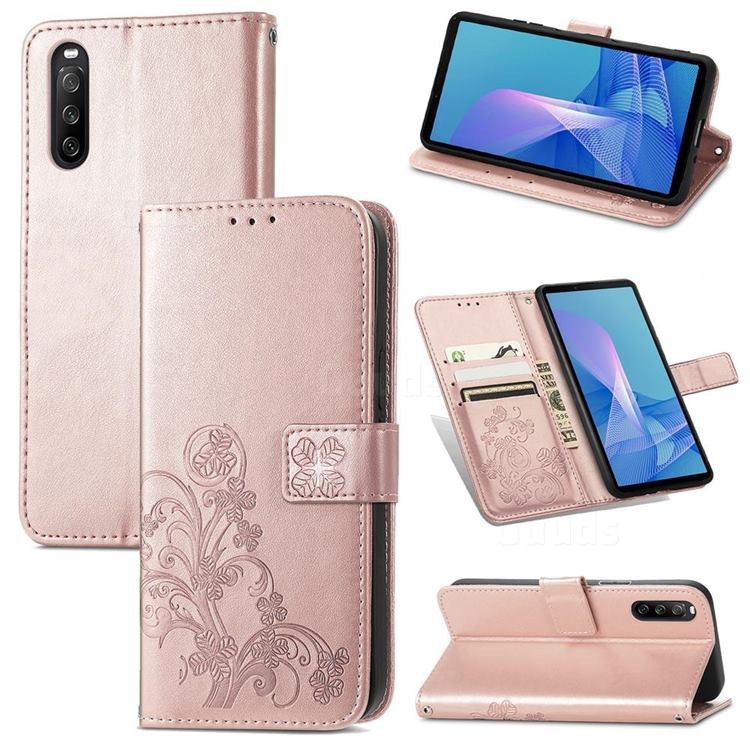 Embossing Imprint Four-Leaf Clover Leather Wallet Case for Sony Xperia 10 III - Rose Gold