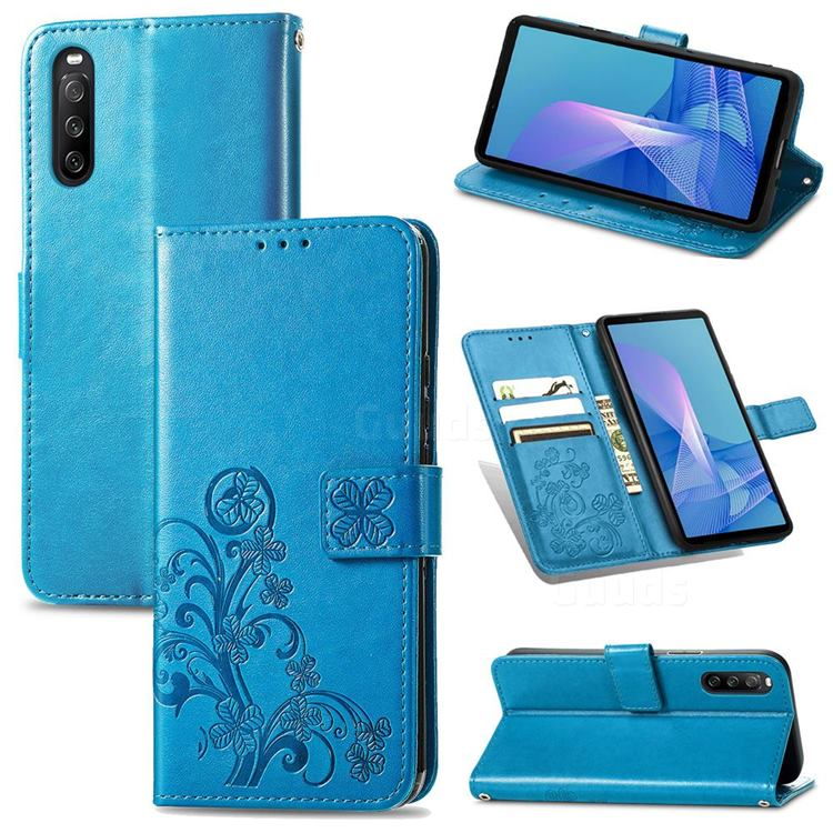 Embossing Imprint Four-Leaf Clover Leather Wallet Case for Sony Xperia 10 III - Blue