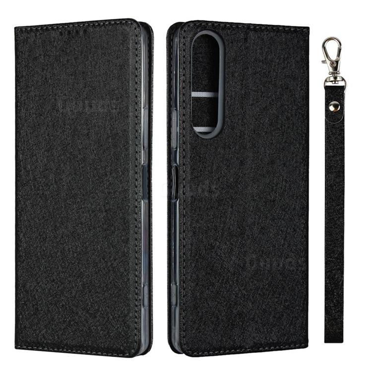 Ultra Slim Magnetic Automatic Suction Silk Lanyard Leather Flip Cover for Sony Xperia 1 II - Black
