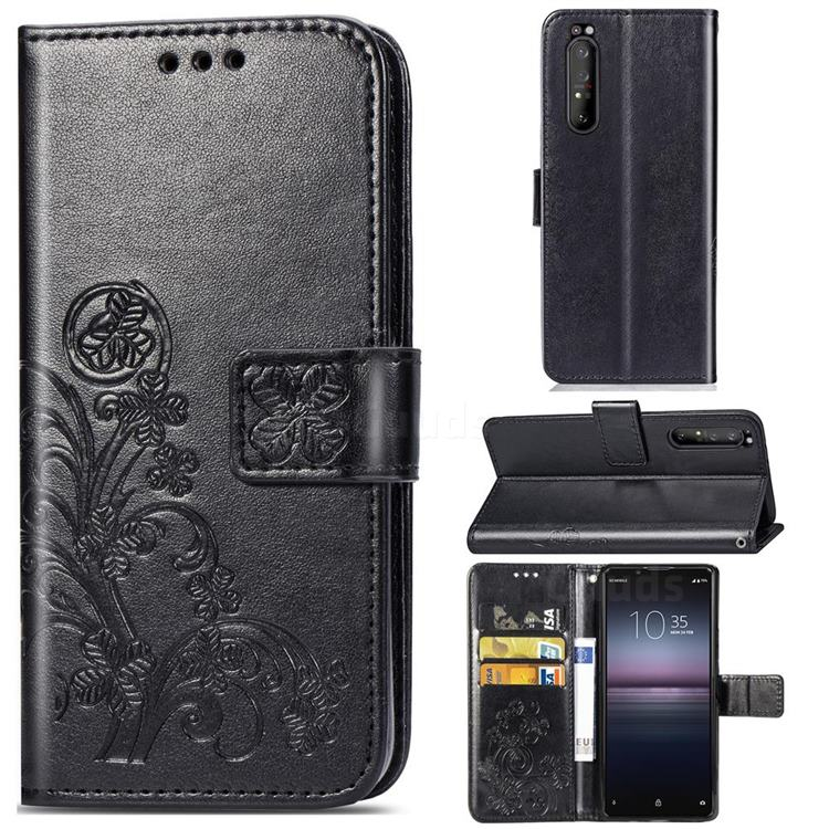 Embossing Imprint Four-Leaf Clover Leather Wallet Case for Sony Xperia 1 II - Black