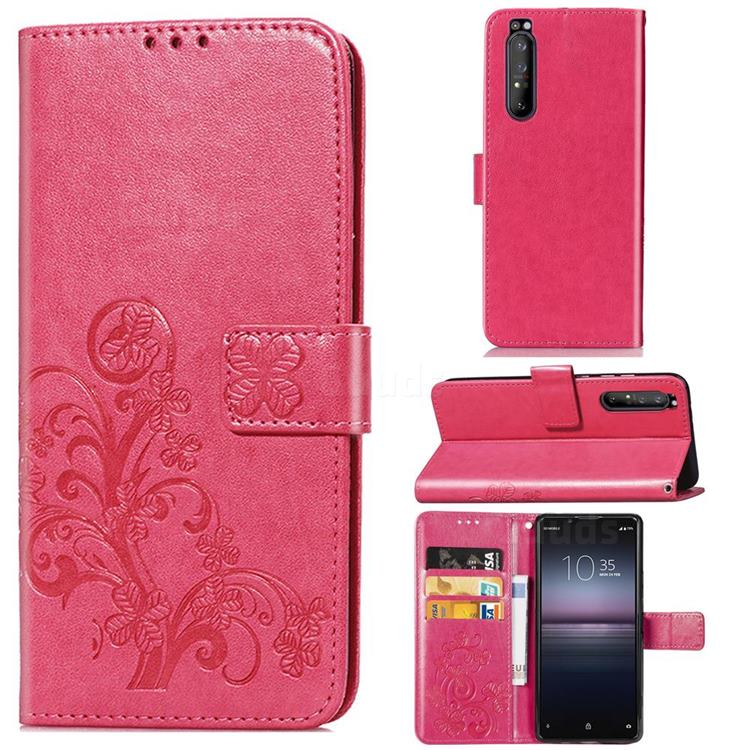 Embossing Imprint Four-Leaf Clover Leather Wallet Case for Sony Xperia 1 II - Rose Red