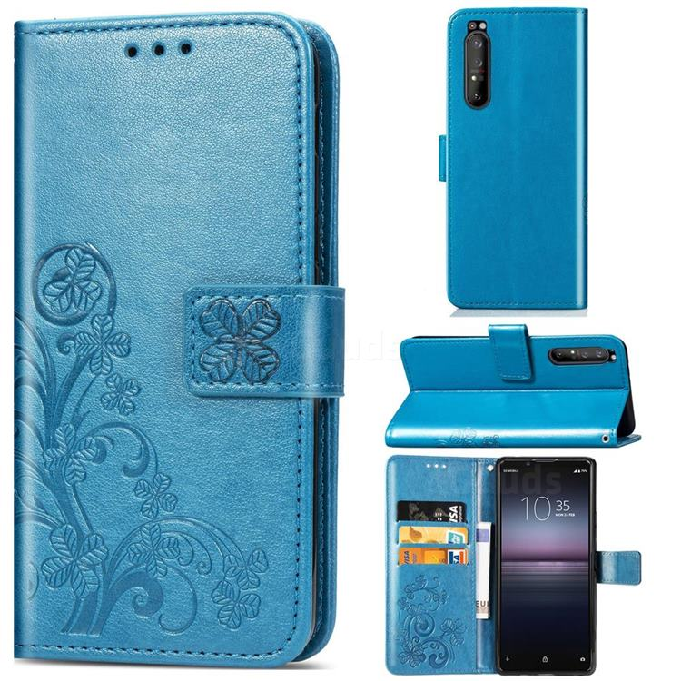 Embossing Imprint Four-Leaf Clover Leather Wallet Case for Sony Xperia 1 II - Blue