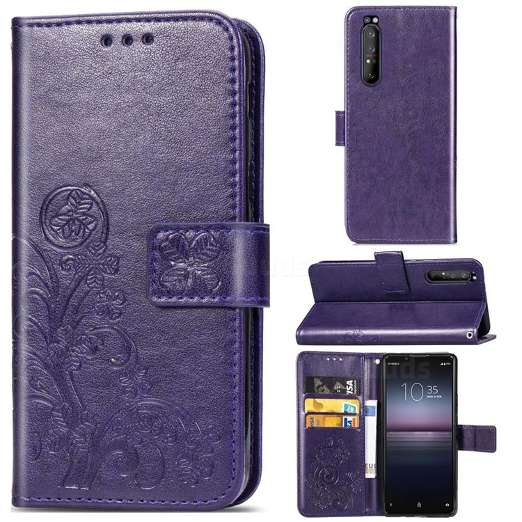 Embossing Imprint Four-Leaf Clover Leather Wallet Case for Sony Xperia 1 II - Purple