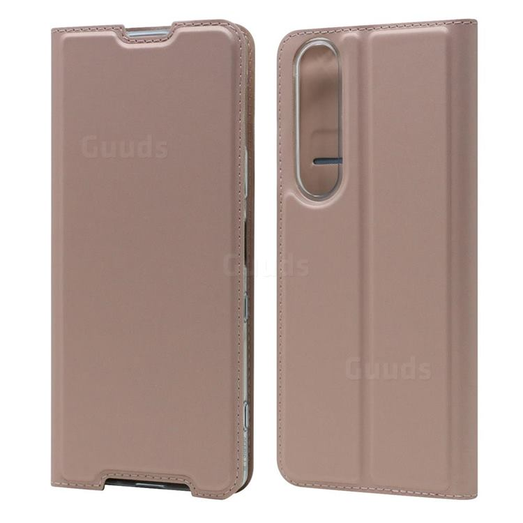 Ultra Slim Card Magnetic Automatic Suction Leather Wallet Case for Sony Xperia 1 III - Rose Gold
