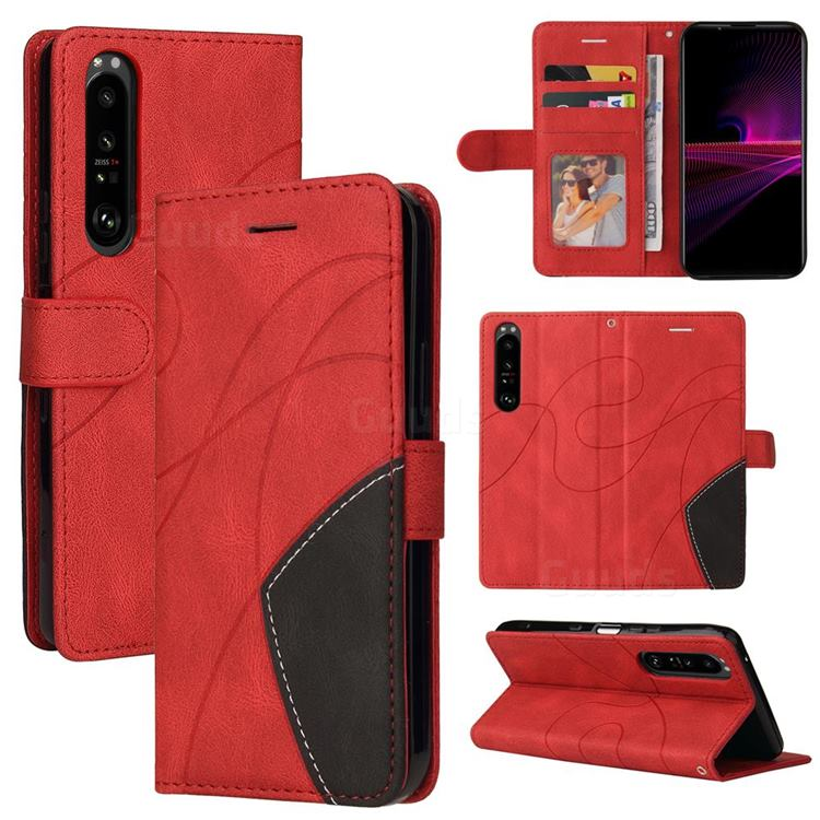 Luxury Two-color Stitching Leather Wallet Case Cover for Sony Xperia 1 III - Red