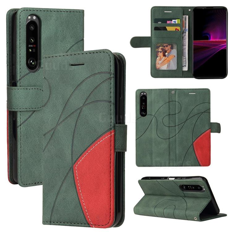 Luxury Two-color Stitching Leather Wallet Case Cover for Sony Xperia 1 III - Green