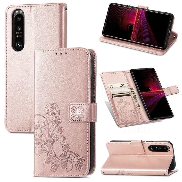 Embossing Imprint Four-Leaf Clover Leather Wallet Case for Sony Xperia 1 III - Rose Gold