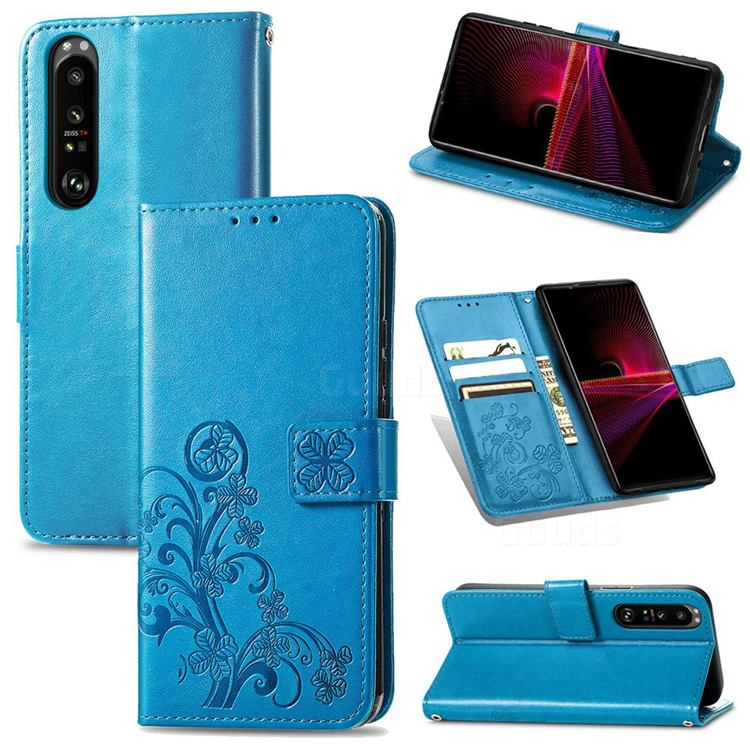 Embossing Imprint Four-Leaf Clover Leather Wallet Case for Sony Xperia 1 III - Blue