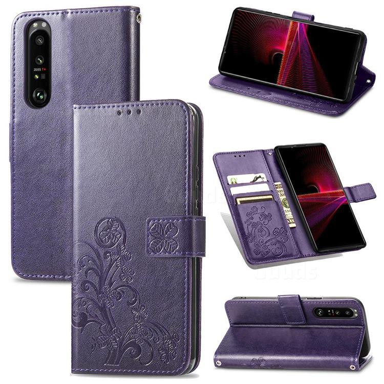 Embossing Imprint Four-Leaf Clover Leather Wallet Case for Sony Xperia 1 III - Purple