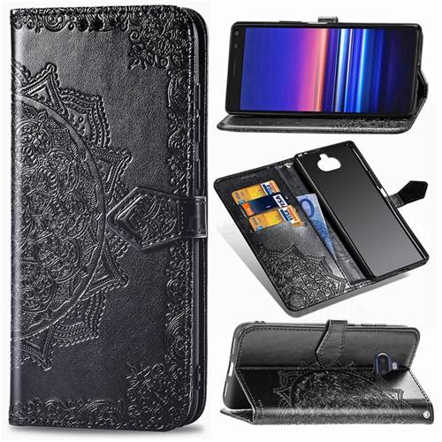 Embossing Imprint Mandala Flower Leather Wallet Case for Sony Xperia 20 - Black