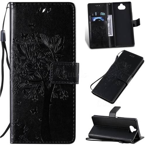 Embossing Butterfly Tree Leather Wallet Case for Sony Xperia 20 - Black