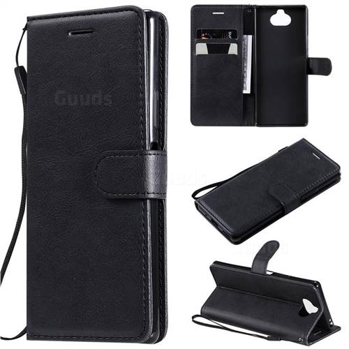 Retro Greek Classic Smooth PU Leather Wallet Phone Case for Sony Xperia 20 - Black