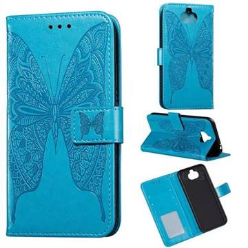 Intricate Embossing Vivid Butterfly Leather Wallet Case for Sony Xperia 20 - Blue