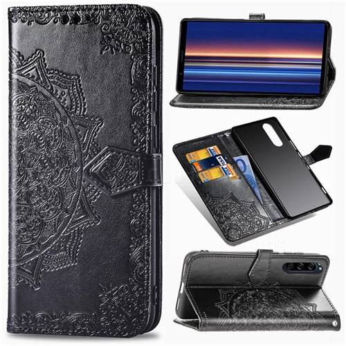 Embossing Imprint Mandala Flower Leather Wallet Case for Sony Xperia 5 - Black