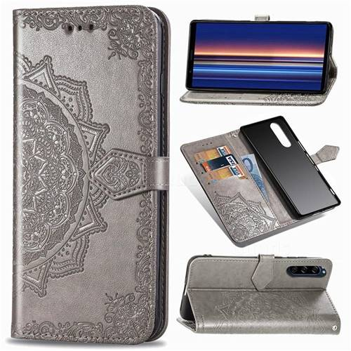 Embossing Imprint Mandala Flower Leather Wallet Case for Sony Xperia 5 - Gray