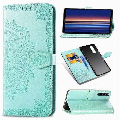 Embossing Imprint Mandala Flower Leather Wallet Case for Sony Xperia 5 - Green