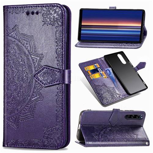 Embossing Imprint Mandala Flower Leather Wallet Case for Sony Xperia 5 - Purple