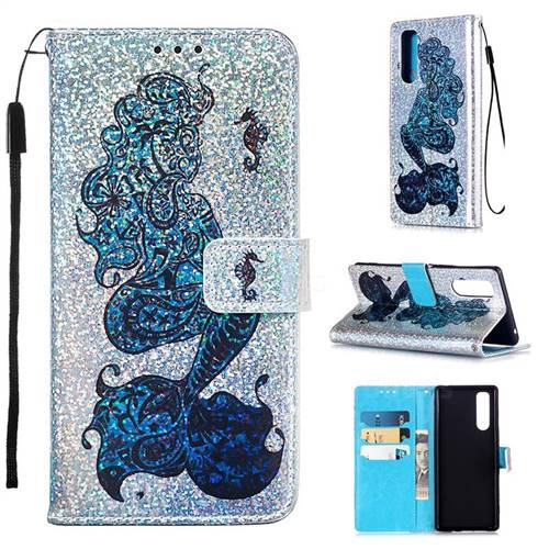 Mermaid Seahorse Sequins Painted Leather Wallet Case for Sony Xperia 5
