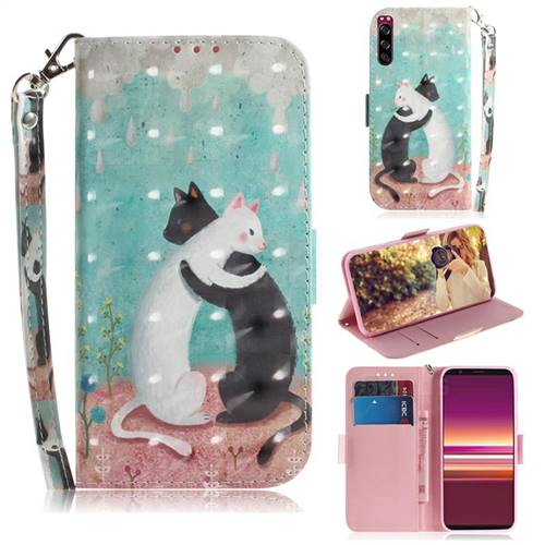 Black and White Cat 3D Painted Leather Wallet Phone Case for Sony Xperia 5