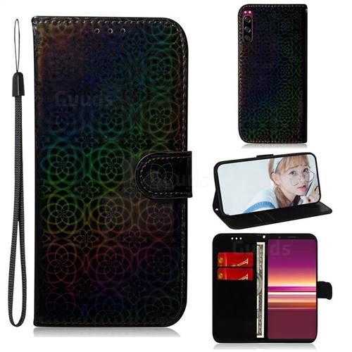Laser Circle Shining Leather Wallet Phone Case for Sony Xperia 5 - Black
