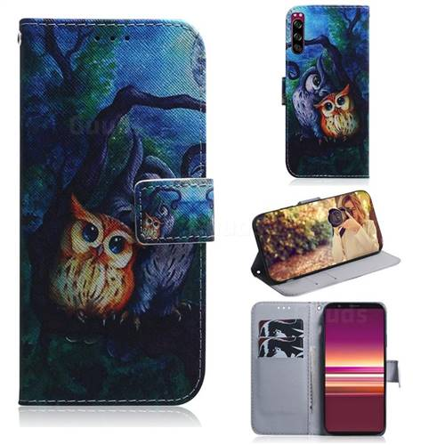 Oil Painting Owl PU Leather Wallet Case for Sony Xperia 5