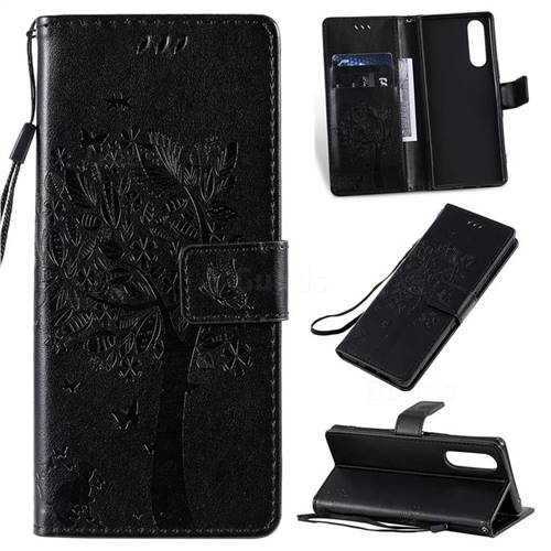 Embossing Butterfly Tree Leather Wallet Case for Sony Xperia 5 - Black