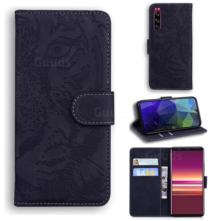 Intricate Embossing Tiger Face Leather Wallet Case for Sony Xperia 5 - Black