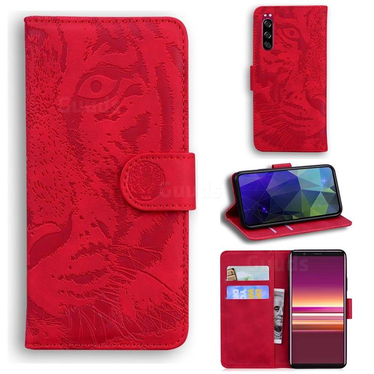 Intricate Embossing Tiger Face Leather Wallet Case for Sony Xperia 5 - Red