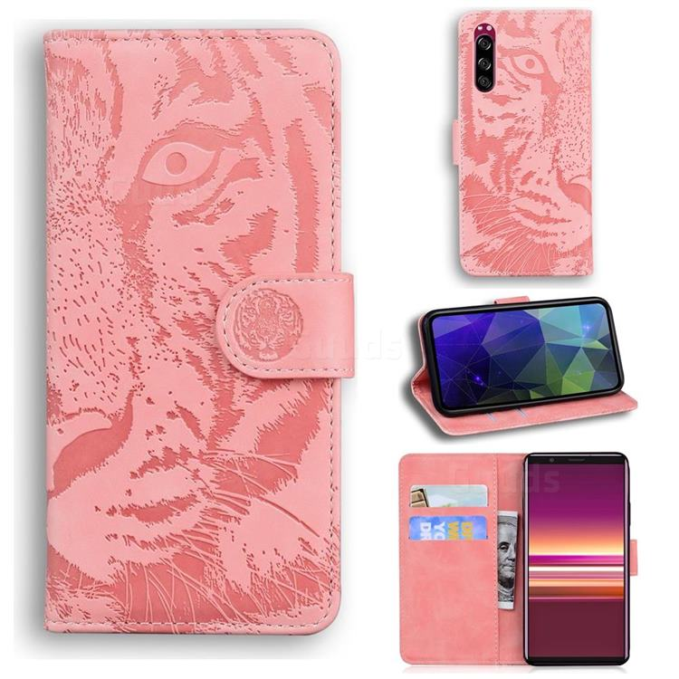 Intricate Embossing Tiger Face Leather Wallet Case for Sony Xperia 5 - Pink