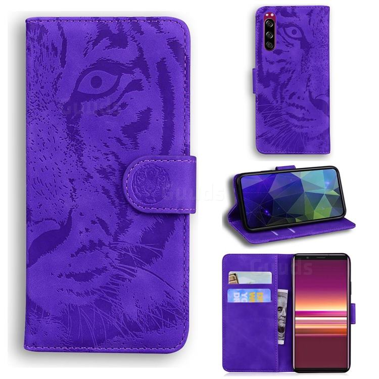 Intricate Embossing Tiger Face Leather Wallet Case for Sony Xperia 5 - Purple
