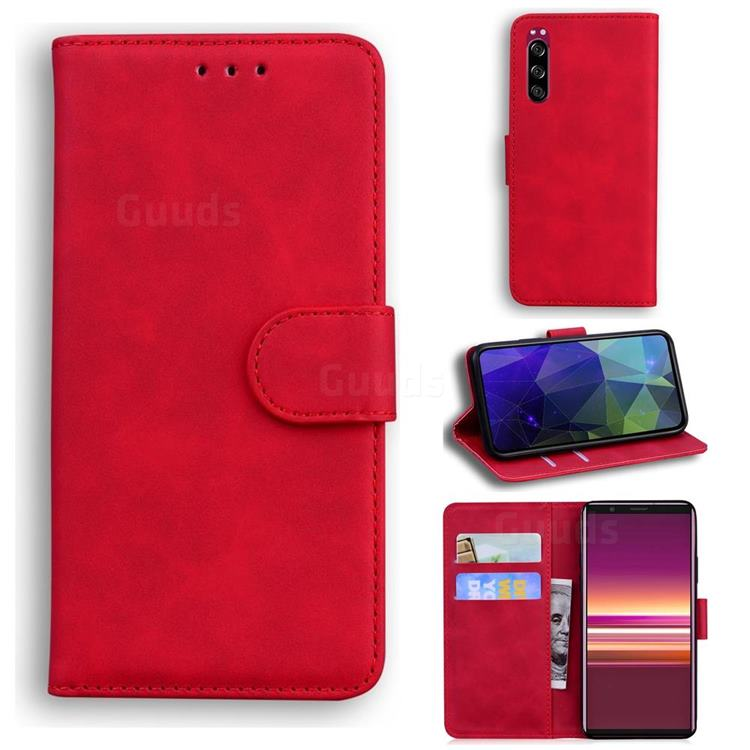 Retro Classic Skin Feel Leather Wallet Phone Case for Sony Xperia 5 - Red