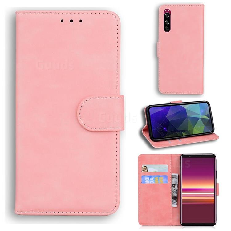 Retro Classic Skin Feel Leather Wallet Phone Case for Sony Xperia 5 - Pink