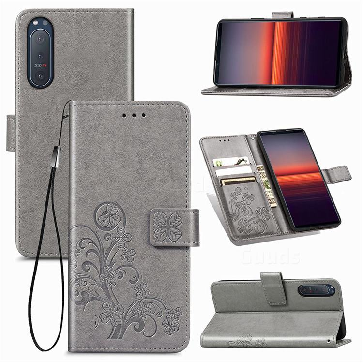 Embossing Imprint Four-Leaf Clover Leather Wallet Case for Sony Xperia 5 II - Grey