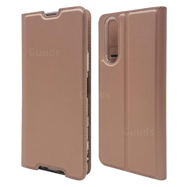 Ultra Slim Card Magnetic Automatic Suction Leather Wallet Case for Sony Xperia 5 II - Rose Gold