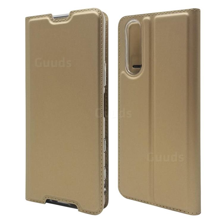 Ultra Slim Card Magnetic Automatic Suction Leather Wallet Case for Sony Xperia 5 II - Champagne