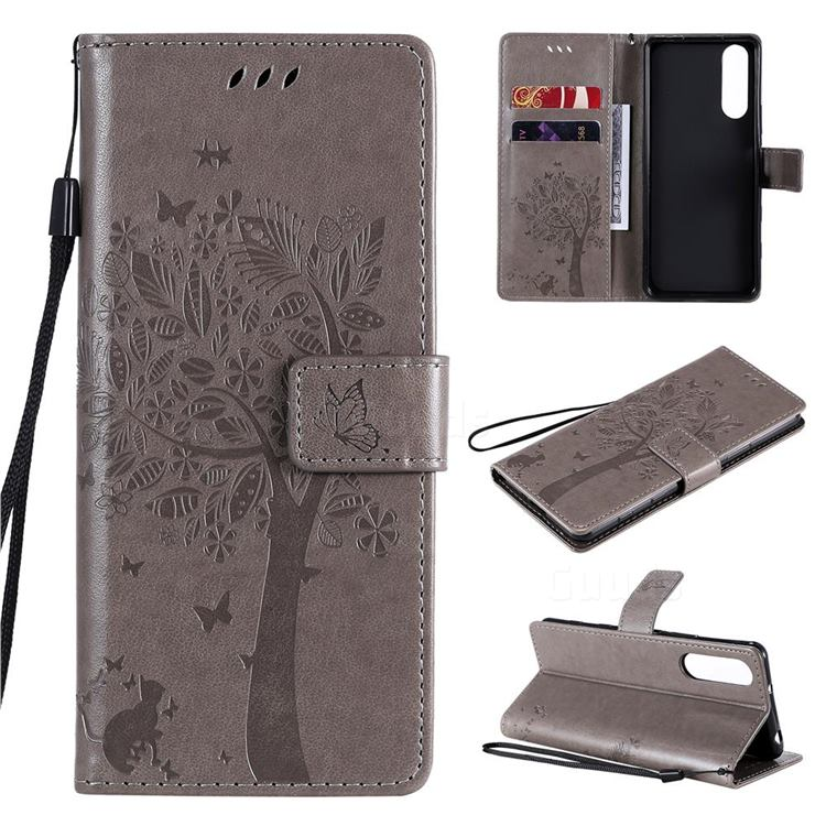 Embossing Butterfly Tree Leather Wallet Case for Sony Xperia 5 II - Grey