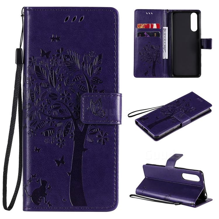 Embossing Butterfly Tree Leather Wallet Case for Sony Xperia 5 II - Purple