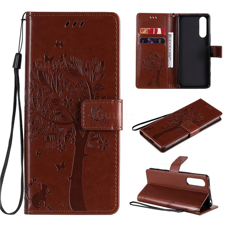 Embossing Butterfly Tree Leather Wallet Case for Sony Xperia 5 II - Coffee