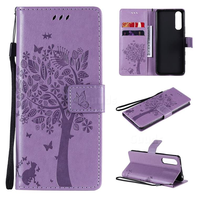 Embossing Butterfly Tree Leather Wallet Case for Sony Xperia 5 II - Violet
