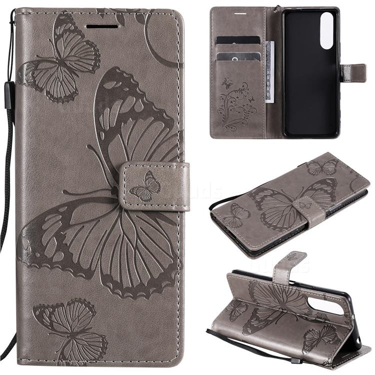 Embossing 3D Butterfly Leather Wallet Case for Sony Xperia 5 II - Gray