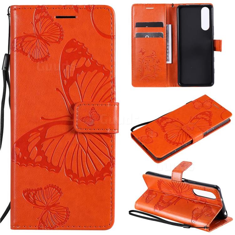 Embossing 3D Butterfly Leather Wallet Case for Sony Xperia 5 II - Orange