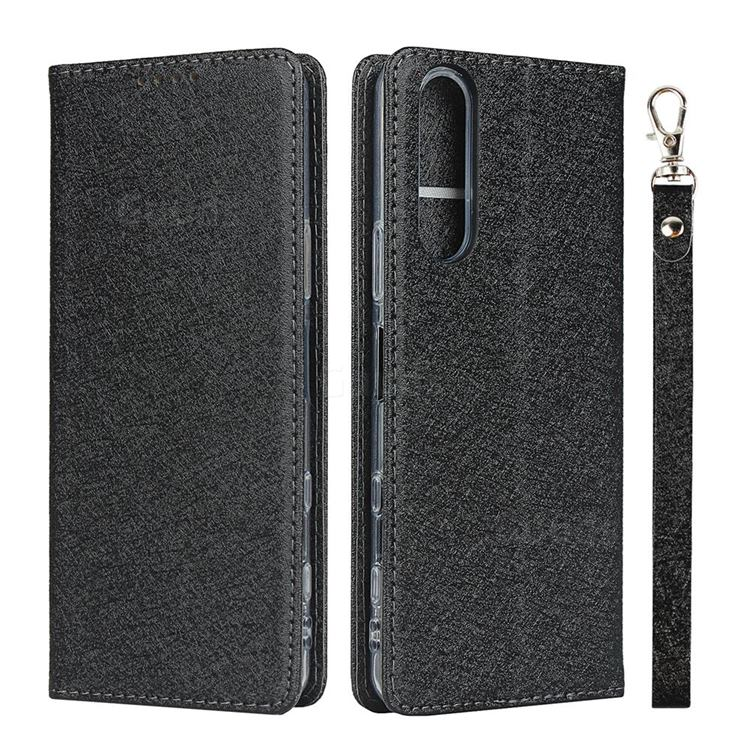 Ultra Slim Magnetic Automatic Suction Silk Lanyard Leather Flip Cover for Sony Xperia 5 II - Black