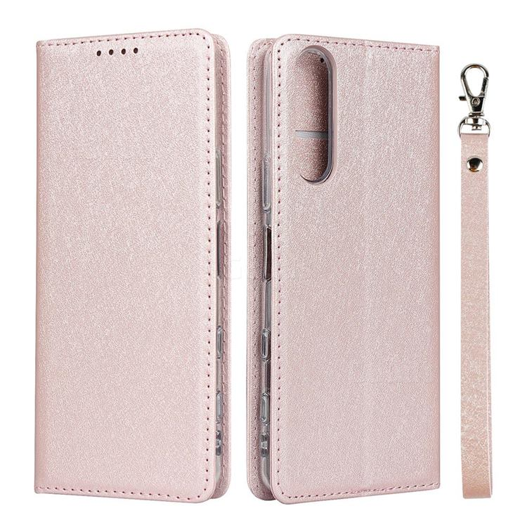 Ultra Slim Magnetic Automatic Suction Silk Lanyard Leather Flip Cover for Sony Xperia 5 II - Rose Gold