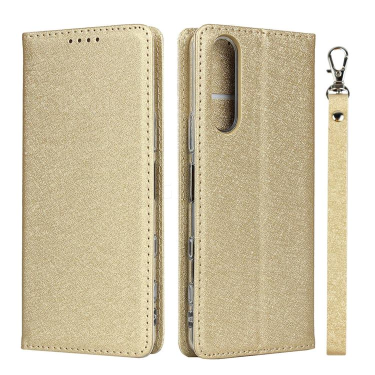 Ultra Slim Magnetic Automatic Suction Silk Lanyard Leather Flip Cover for Sony Xperia 5 II - Golden