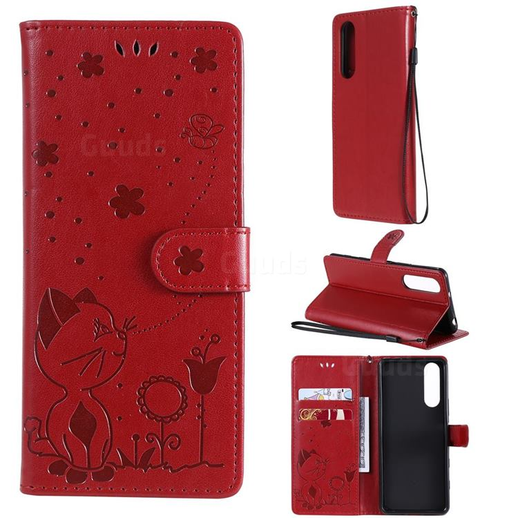 Embossing Bee and Cat Leather Wallet Case for Sony Xperia 5 II - Red